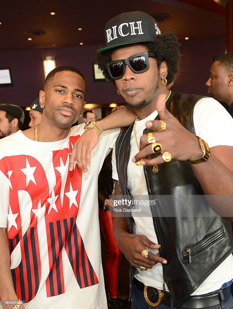 Musicians Big Sean and Trinidad James pose backstage at the GRAMMYs Dial Global Radio Remotes during The 55th Annual GRAMMY Awards at the STAPLES Center on February 8, 2013 in Los Angeles, California.