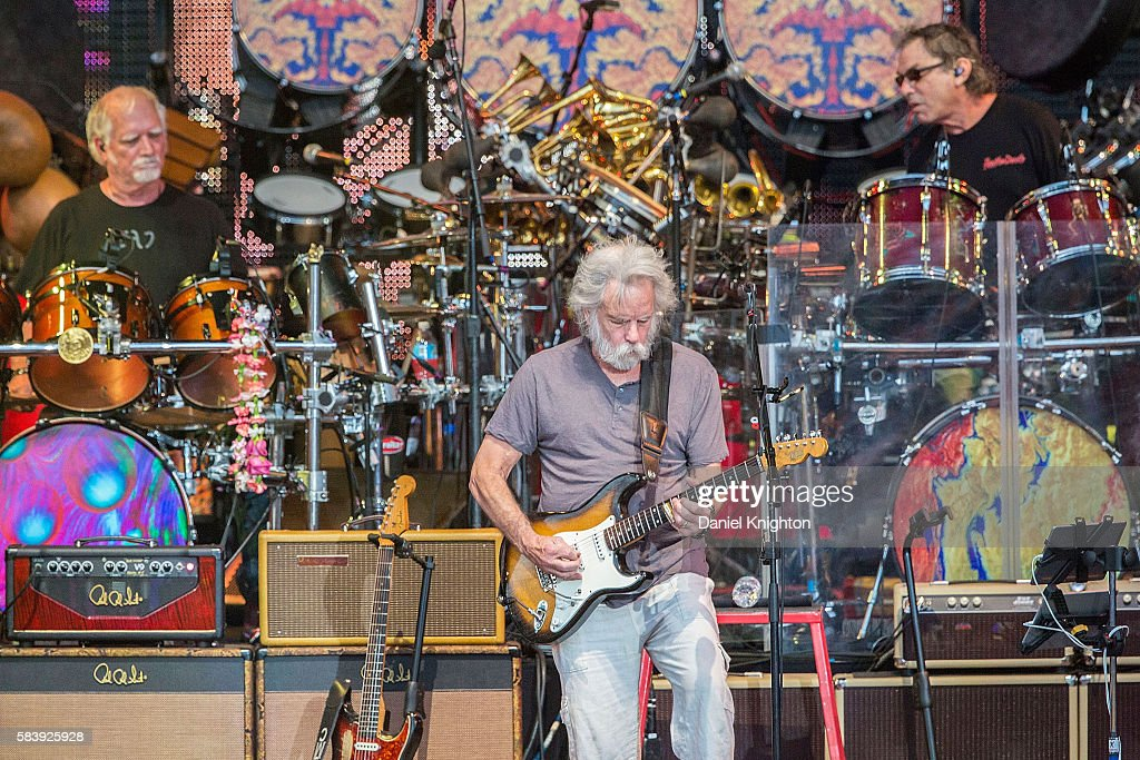 Musicians Bill Kreutzmann, Bob Weir, and Mickey Hart of Dead & Company perform on stage at Sleep Train Amphitheatre on July 27, 2016 in Chula Vista, California.