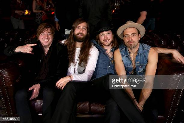 Musicians Bill Satcher Graham DeLoach Michael Hobby and Zach Brown of the band A Thousand Horses attend A Thousand Horses presented by BMLG/Republic...
