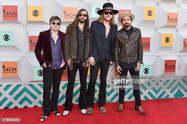 Musicians Bill Satcher Graham DeLoach Michael Hobby and Zach Brown of A Thousand Horses attend the 51st Academy of Country Music Awards at MGM Grand...