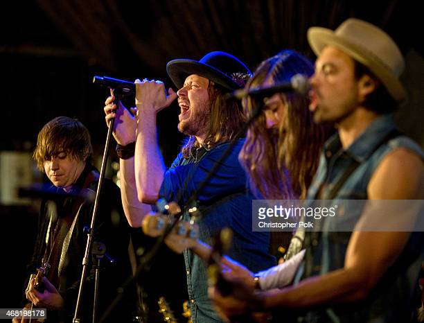 Musicians Bill Satcher Michael Hobby Graham DeLoach and Zach Brown of the band A Thousand Horses perform onstage during A Thousand Horses presented...
