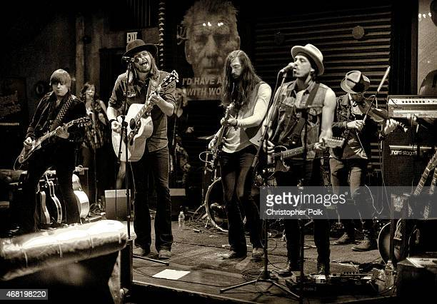 Musicians Bill Satcher Michael Hobby Graham DeLoach and Zach Brown of the band A Thousand Horses perform onstage at A Thousand Horses presented by...