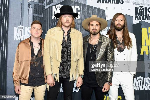 Musicians Bill Satcher Michael Hobby Zach Brown and Graham DeLoach of A Thousand Horses attend the 2017 CMT Music Awards at the Music City Center on...