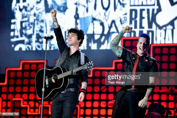 Musicians Billie Joe Armstrong and Tre Cool of Green Day perform onstage during the 2017 Global Citizen Festival For Freedom For Justice For All in...