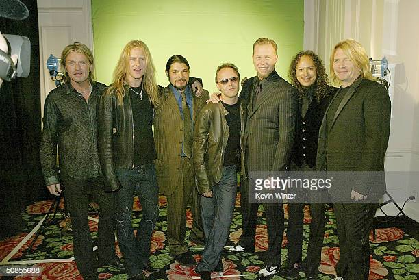 Musicians Billy Duff Jerry Cantrell rock band Metallica with Robert Trujillo Lars Ulrich James Hetfield and Kirk Hammett and producer Bob Rock pose...