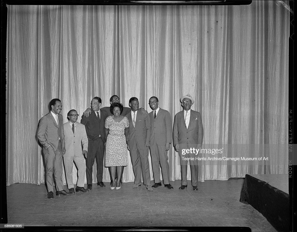 Musicians Billy Eckstine or Charles Bell, Billy Strayhorn, Duke Ellington, Mary Lou Williams, Dizzy Gillespie, Earl 'Fatha' Hines, Billy Taylor, and Willie 'The Lion' Smith, on stage for jazz workshop, Pittsburgh Jazz Festival, in Civic Arena, Pittsburgh, Pennsylvania, June 19, 1965.