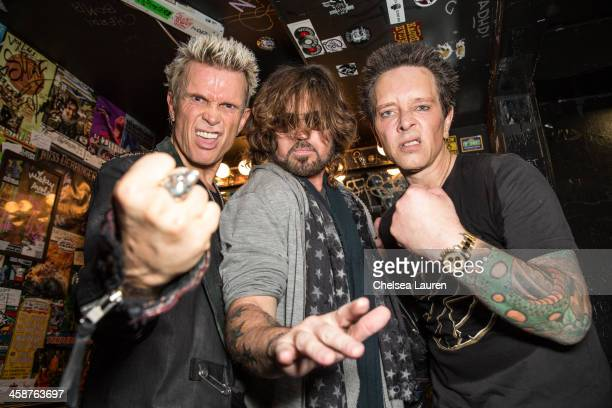 Musicians Billy Idol Billy Ray Cyrus and Billy Morrison pose backstage during the Camp Freddy holiday residency at The Roxy Theatre on December 20...