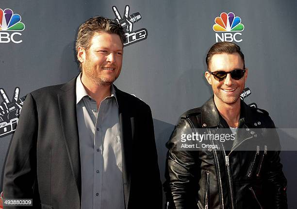 Musicians Blake Shelton and Adam Levine arrive for NBC's 'The Voice' Red Carpet Event held at The Sayers Club on April 3 2014 in Hollywood California