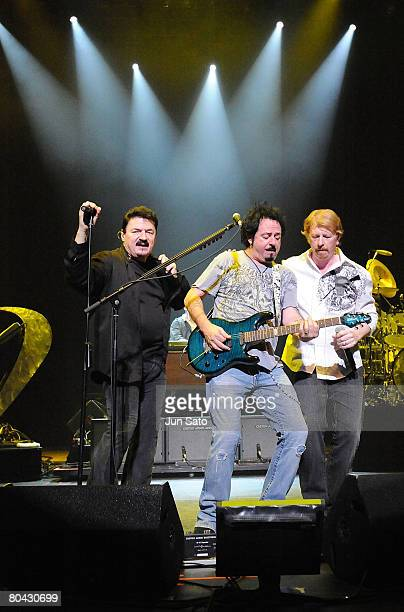 Musicians Bobby Kimball Steve Lukather and Joe Williams perform on stage at the Tokyo International Forum on March 29 2008 in Tokyo Japan