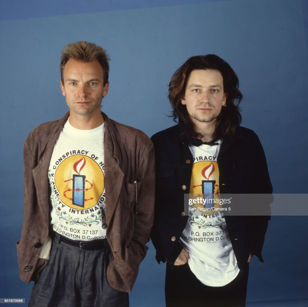 Musicians Bono and Sting are photographed at Amnesty International in 1986.