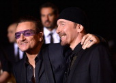 Musicians Bono and The Edge of U2 arrive at the 25th Annual Palm Springs International Film Festival Awards Gala at Palm Springs Convention Center on...