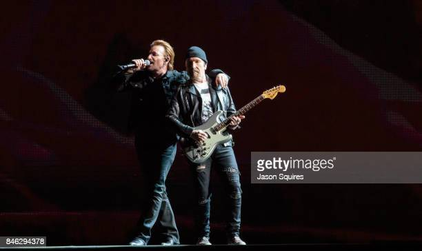 Musicians Bono and The Edge of U2 perform during The Joshua Tree Tour 2017 at Arrowhead Stadium on September 12 2017 in Kansas City Missouri