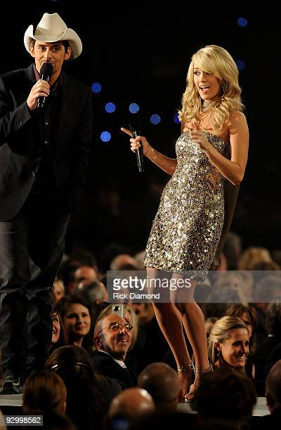 Musicians Brad Paisley and Carrie Underwood perform onstage during the 43rd Annual CMA Awards at the Sommet Center on November 11 2009 in Nashville...