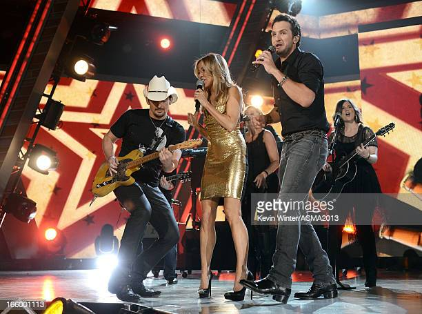 Musicians Brad Paisley Sheryl Crow and Luke Bryan perform onstage during the 48th Annual Academy of Country Music Awards at the MGM Grand Garden...