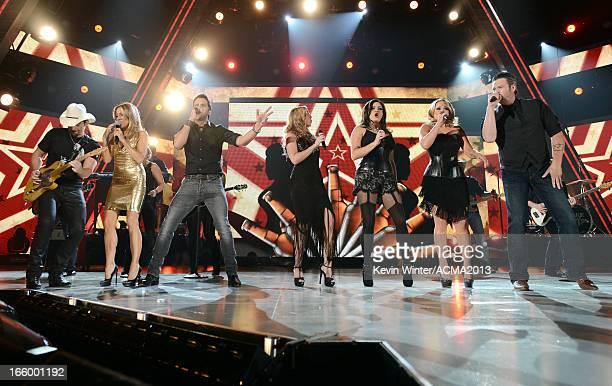 Musicians Brad Paisley Sheryl Crow Luke Bryan Ashley Monroe Angaleena Presley Miranda Lambert and Blake Shelton perform onstage during the 48th...