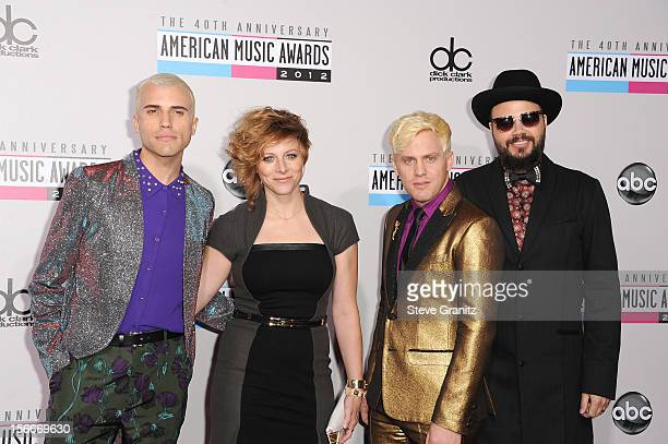 Musicians Branden Campbell Elaine Bradley Chris Allen and Tyler Glenn of Neon Trees attend the 40th Anniversary American Music Awards held at Nokia...