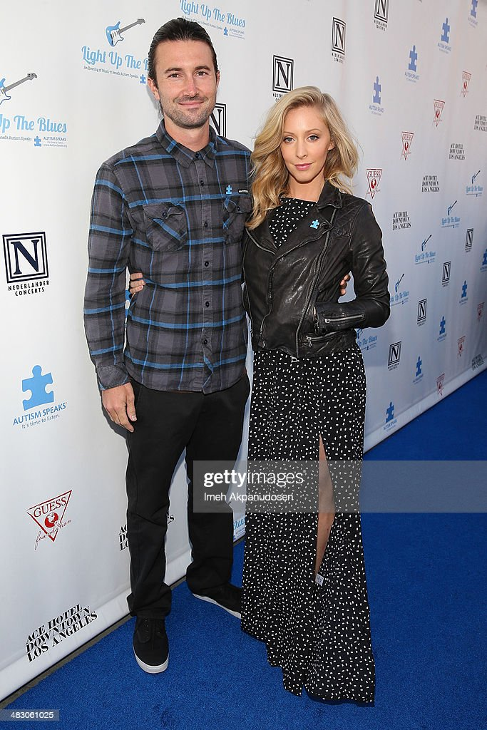 Musicians <a gi-track='captionPersonalityLinkClicked' href=/galleries/search?phrase=Brandon+Jenner&family=editorial&specificpeople=874130 ng-click='$event.stopPropagation()'>Brandon Jenner</a> (L) and Leah Felder attend the 2nd Light Up The Blues Concert - An Evening Of Music To Benefit Autism Speaks at The Theatre At Ace Hotel on April 5, 2014 in Los Angeles, California.