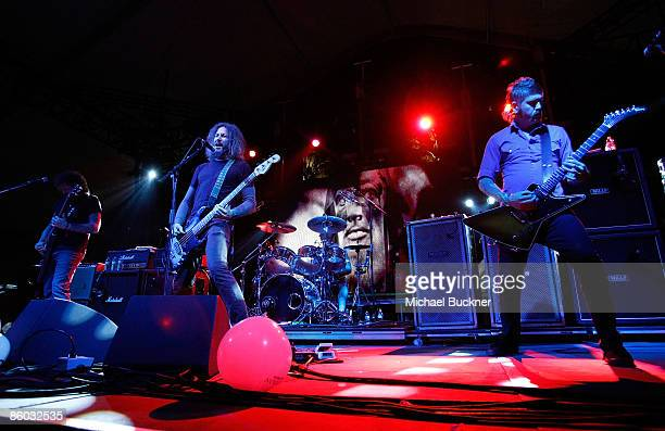 Musicians Brend Hinds Troy Sanders and Bill Kelliher of Mastodon perform during day 1 of the Coachella Valley Music Arts Festival held at the Empire...