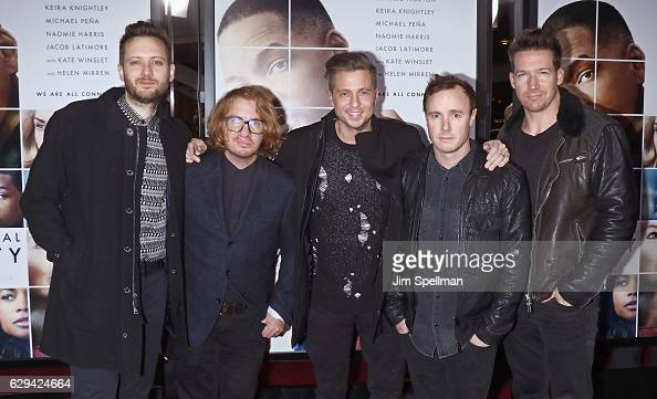 Musicians Brent Kutzle Drew Brown Ryan Tedder Eddie Fisher and Zach Filkins of OneRepublic attend the 'Collateral Beauty' world premiere at Frederick...