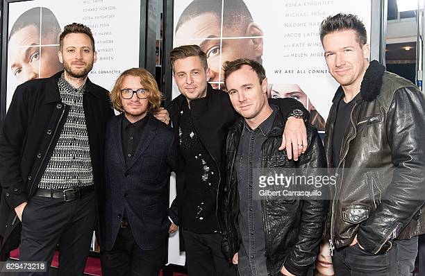 R Musicians Brent Kutzle Drew Brown Ryan Tedder Eddie Fisher and Zach Filkins of OneRepublic attend 'Collateral Beauty' World Premiere at Frederick P...