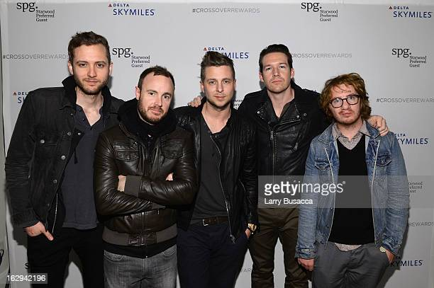 Musicians Brent Kutzle Eddie Fisher Ryan Tedder Zach Filkins and Drew Brown of OneRepublic attend Starwood Preferred Guest and Delta celebrate the...