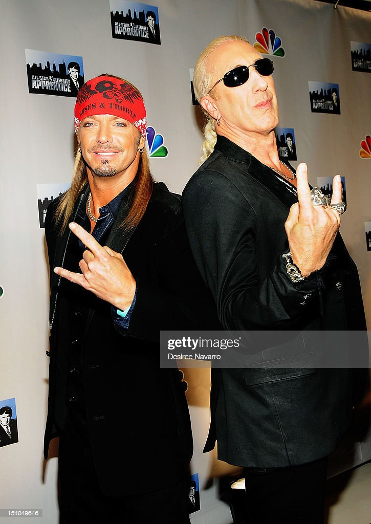 Musicians <a gi-track='captionPersonalityLinkClicked' href=/galleries/search?phrase=Bret+Michaels&family=editorial&specificpeople=1150752 ng-click='$event.stopPropagation()'>Bret Michaels</a> and <a gi-track='captionPersonalityLinkClicked' href=/galleries/search?phrase=Dee+Snider&family=editorial&specificpeople=239139 ng-click='$event.stopPropagation()'>Dee Snider</a> attend the 'Celebrity Apprentice All Stars' Season 13 Press Conference at Jack Studios on October 12, 2012 in New York City.