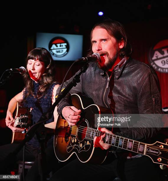 Musicians Brian Aubert and Nikki Monninger of Silversun Pickups perform at The ALTimate Rooftop Christmas Party at W Hollywood on December 9 2013 in...