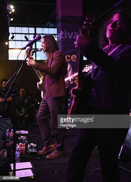 Musicians Brian Bell and Nate Shaw of the band The Relationship perform at the Sundance ASCAP Music Cafe during the 2015 Sundance Film Festival on...