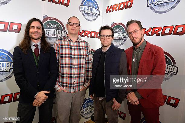 Musicians Brian Bell Patrick Wilson Rivers Cuomo and Scott Shriner of Weezer attend day two of the 25th annual KROQ Almost Acoustic Christmas at The...