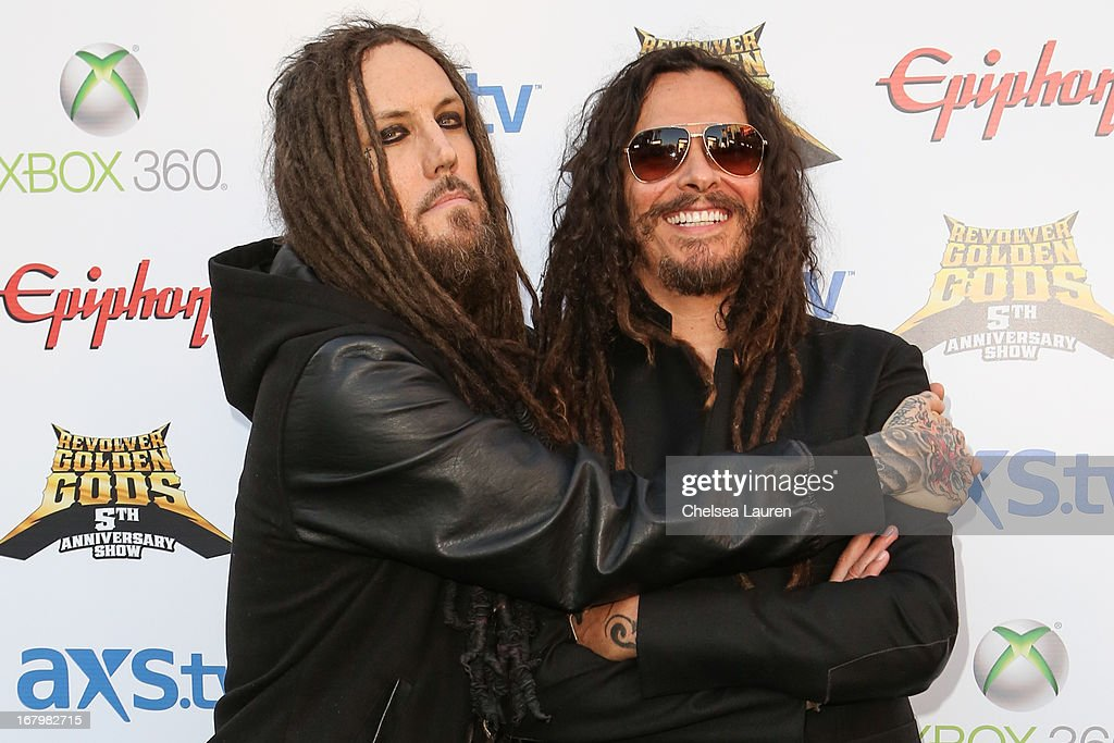 Musicians Brian 'Head' Welch (L) and James 'Munky' Shaffer of Korn arrive at the 5th Annual Revolver Golden Gods awards show at Club Nokia on May 2, 2013 in Los Angeles, California.