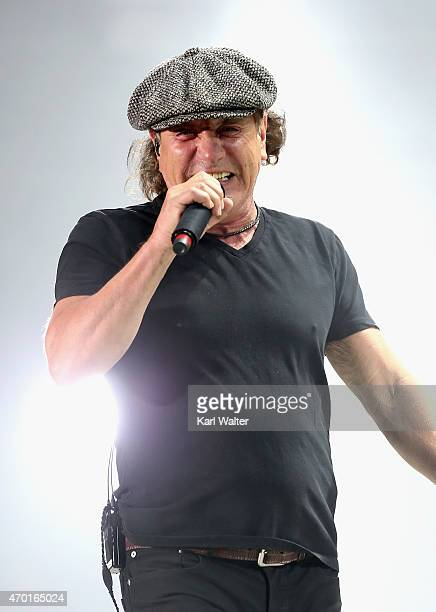 Musicians Brian Johnson of AC/DC performs onstage during day 1 of the 2015 Coachella Valley Music And Arts Festival at The Empire Polo Club on April...
