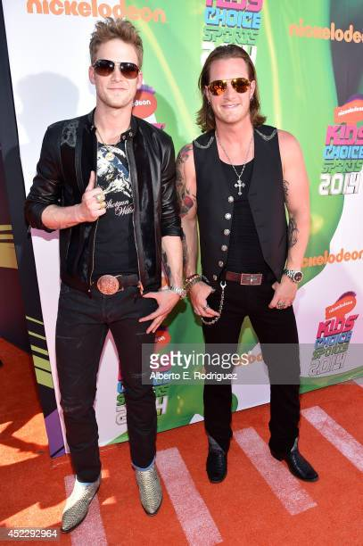Musicians Brian Kelley and Tyler Hubbard of Florida Georgia Line attend Nickelodeon Kids' Choice Sports Awards 2014 at UCLA's Pauley Pavilion on July...