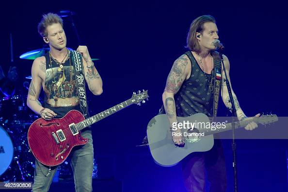 Musicians Brian Kelley and Tyler Hubbard of Florida Georgia Line perform onstage during CBS Radio's The Night Before at US Airways Center on January...