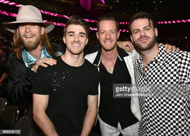 Musicians Brian Kelley of Florida Georgia Line Andrew Taggart of The Chainsmokers Tyler Hubbard of Florida Georgia Line and Alex Pall of The...