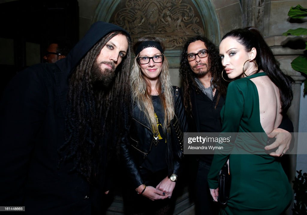 Musicians <a gi-track='captionPersonalityLinkClicked' href=/galleries/search?phrase=Brian+Welch&family=editorial&specificpeople=3209697 ng-click='$event.stopPropagation()'>Brian Welch</a> (L) and <a gi-track='captionPersonalityLinkClicked' href=/galleries/search?phrase=James+Shaffer&family=editorial&specificpeople=573015 ng-click='$event.stopPropagation()'>James Shaffer</a> (2nd R) of the band Korn attends the Warner Music Group 2013 Grammy Celebration Presented By Mini at Chateau Marmont on February 10, 2013 in Los Angeles, California.