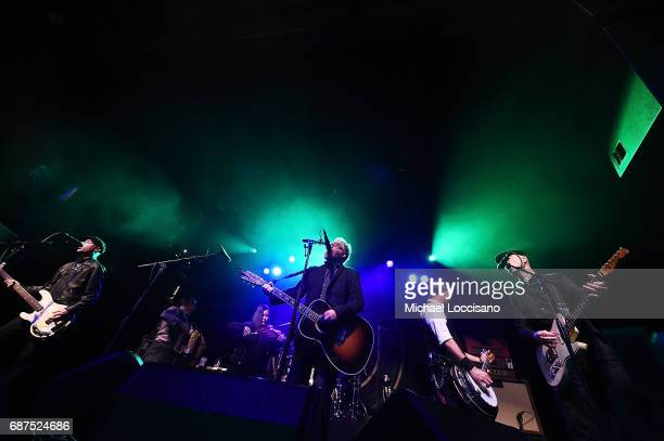 Musicians Bridget Regan and Dave King of Flogging Molly perform at Irving Plaza on May 23 2017 in New York City