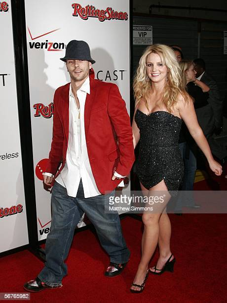 Musicians Britney Spears and Kevin Federline arrive at the 2006 Grammy Nominees party with Kanye West hosted By Verizon Wireless and Rolling Stone...