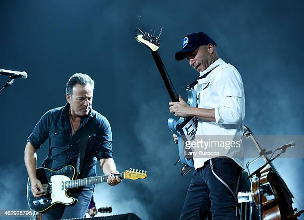 Musicians Bruce Springsteen and Tom Morello onstage at the 25th anniversary MusiCares 2015 Person Of The Year Gala honoring Bob Dylan at the Los...