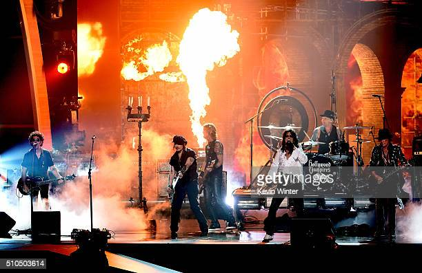 Musicians Bruce Witkin Johnny Depp Duff McKagan Alice Cooper Matt Sorum and Joe Perry of music group The Hollywood Vampires perform onstage during...
