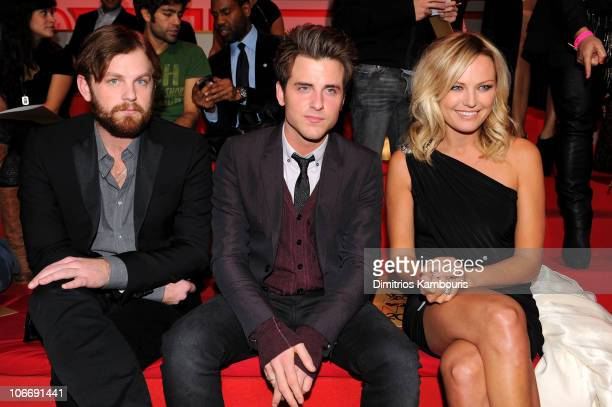 Musicians Caleb Followill and Jared Followill of Kings of Leon and actress Malin Akerman attend the 2010 Victoria's Secret Fashion Show at the...