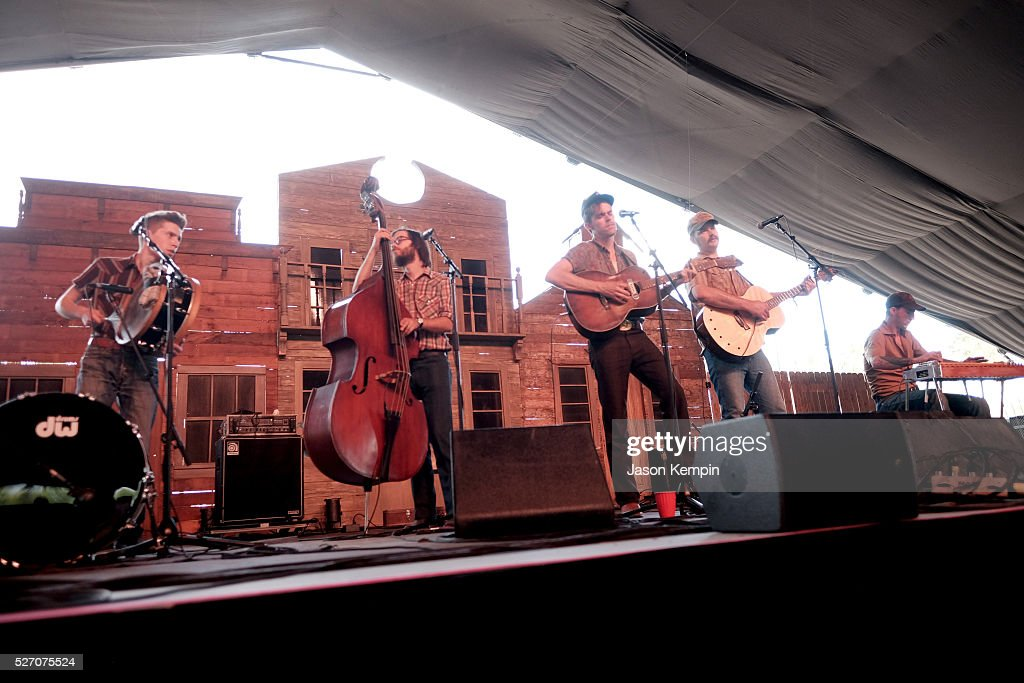 Musicians Cameron Snyder, Dan Cutler, Sam Doores, Riley Downing and John James Tourville of The Deslondes perform onstage during 2016 Stagecoach California's Country Music Festival at Empire Polo Club on May 01, 2016 in Indio, California.