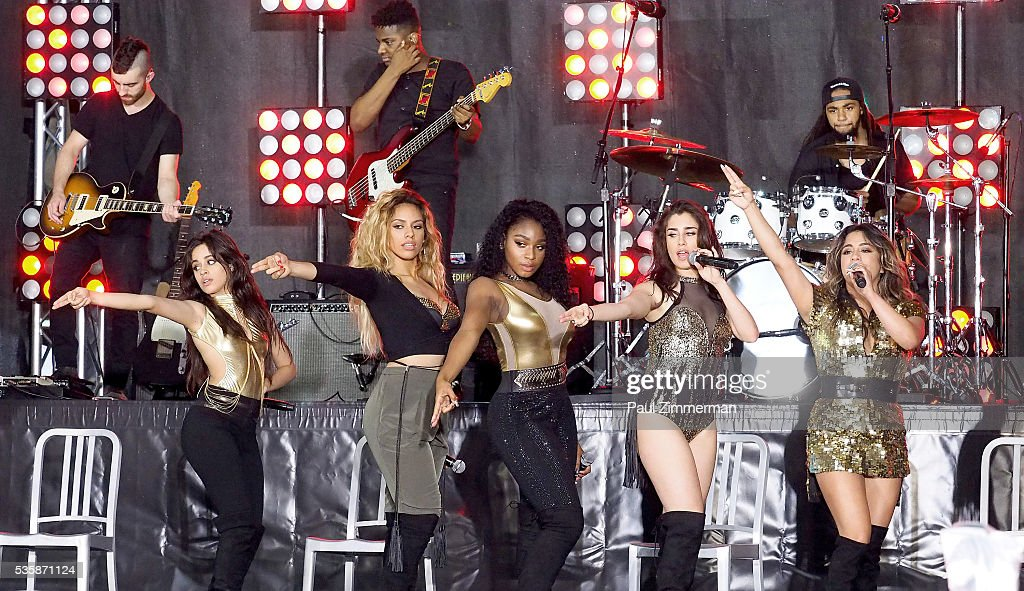 Musicians <a gi-track='captionPersonalityLinkClicked' href=/galleries/search?phrase=Camila+Cabello&family=editorial&specificpeople=9951839 ng-click='$event.stopPropagation()'>Camila Cabello</a>, Dinah-Jane Hansen, Normani Hamilton, <a gi-track='captionPersonalityLinkClicked' href=/galleries/search?phrase=Lauren+Jauregui&family=editorial&specificpeople=9766444 ng-click='$event.stopPropagation()'>Lauren Jauregui</a> and <a gi-track='captionPersonalityLinkClicked' href=/galleries/search?phrase=Ally+Brooke&family=editorial&specificpeople=9748330 ng-click='$event.stopPropagation()'>Ally Brooke</a> of band Fifth Harmony perform On NBC's 'Today' at Rockefeller Plaza on May 30, 2016 in New York City.