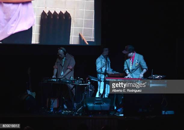 Musicians Carlos Chairez Gilberto Cerezo and Ulises Lozano of the band 'Kinky' attend Film Independent at LACMA's Bring The Noise Wierd Science at...