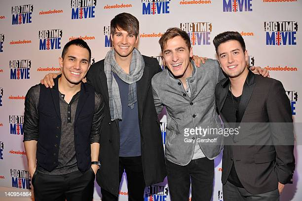 Musicians Carlos Pena Jr James Maslow Kendall Schmidt and Logan Henderson of Big Time Rush attend the 'Big Time Movie' New York premiere at 583 Park...