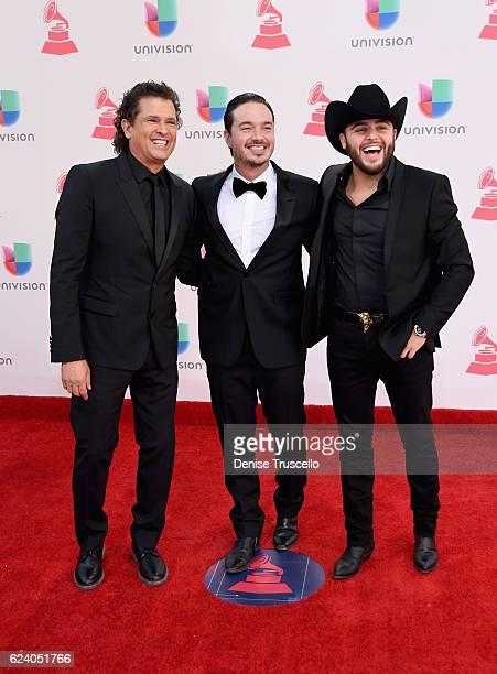 Musicians Carlos Vives J Balvin and Gerardo Ortiz attend The 17th Annual Latin Grammy Awards at TMobile Arena on November 17 2016 in Las Vegas Nevada