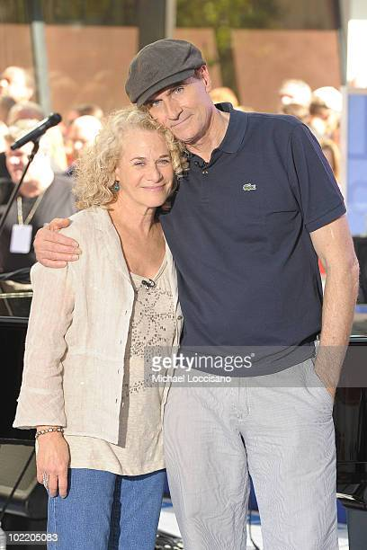 Musicians Carole King and James Taylor pose following their performance on NBC's 'Today' at Rockefeller Center on June 18 2010 in New York City