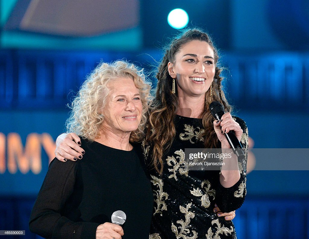 Musicians <a gi-track='captionPersonalityLinkClicked' href=/galleries/search?phrase=Carole+King+-+Musician&family=editorial&specificpeople=211440 ng-click='$event.stopPropagation()'>Carole King</a> (L) and <a gi-track='captionPersonalityLinkClicked' href=/galleries/search?phrase=Sara+Bareilles&family=editorial&specificpeople=4116387 ng-click='$event.stopPropagation()'>Sara Bareilles</a> perform onstage during the 56th GRAMMY Awards at Staples Center on January 26, 2014 in Los Angeles, California.