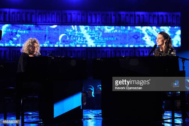 Musicians Carole King and Sara Bareilles perform onstage during the 56th GRAMMY Awards at Staples Center on January 26 2014 in Los Angeles California