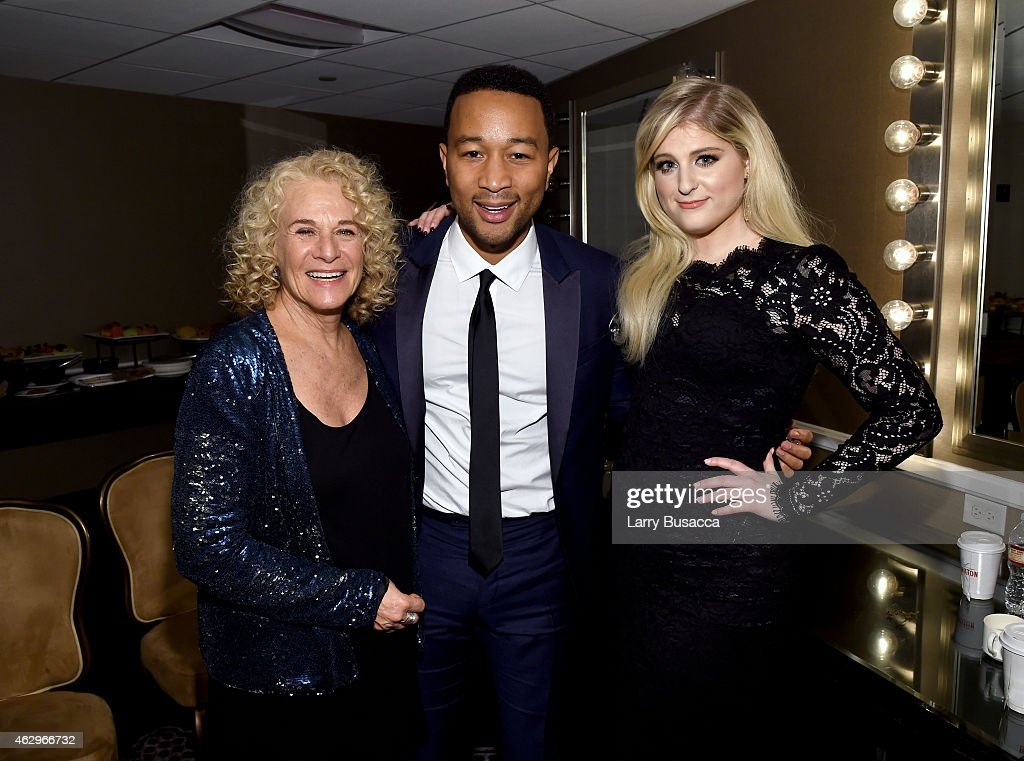 Musicians Carole King John Legend and Meghan Trainor attend the PreGRAMMY Gala and Salute To Industry Icons honoring Martin Bandier at The Beverly...