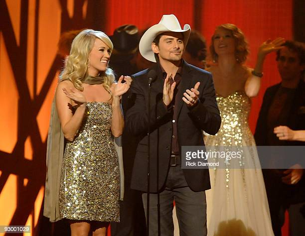 Musicians Carrie Underwood and Brad Paisley perform onstage during the 43rd Annual CMA Awards at the Sommet Center on November 11 2009 in Nashville...